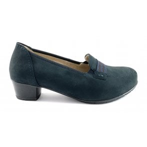 12-47644 Nancy navy Nubuck Heeled Loafer