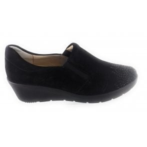 12-47694 Nancy Black Nubuck Slip-On Wedge Shoe