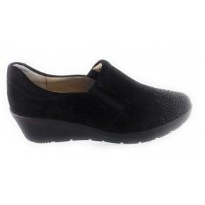 12-47694 Nancy Black Nubuck Slip-On Wedge Shoe