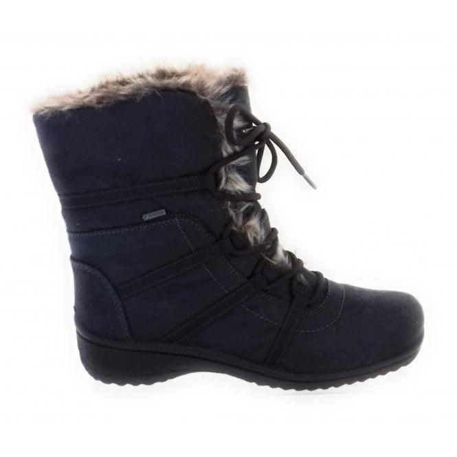 Ara 12-48523 Munchen Grey Gore-Tex Lace-Up Boot with Faux Fur Collar