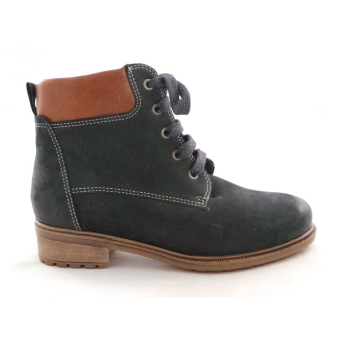 Ara 12-48828 Kansas Navy Blue Nubuck Lace-Up Ankle Boot