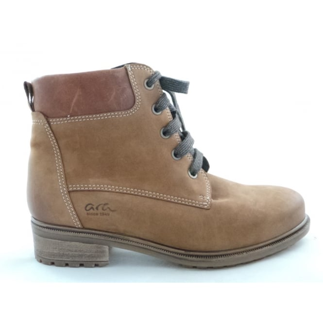 Ara 12-48828 Kansas Tan Nubuck Lace-Up Ankle Boot
