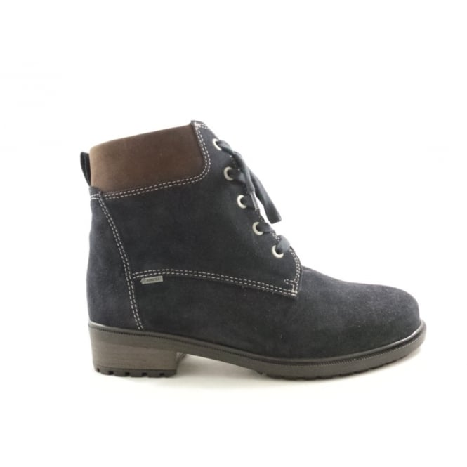 Ara 12-48831 Kansas Gore-Tex Navy Lace-Up Ankle Boot