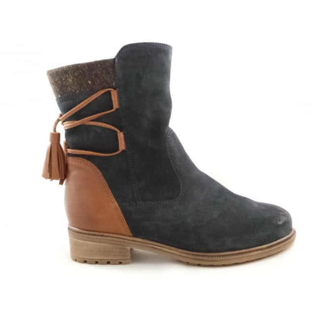 Ara 12-48833 Kansas Navy Blue Suede and Tan Leather Ankle Boot