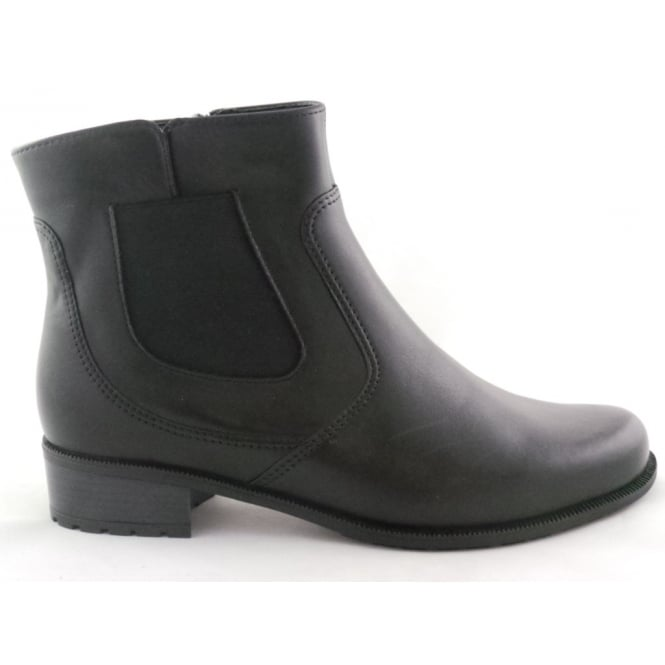 Ara 12-49059 Oxford-Stf Black Leather Ankle Boot