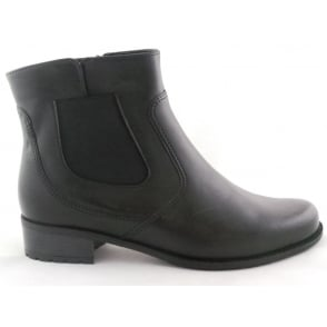 12-49059 Oxford-Stf Black Leather Ankle Boot