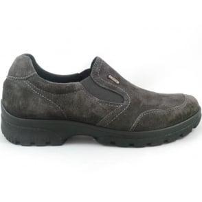 12-49346 Saas-Fee Gore-Tex Grey Nubuck slip-On Casual Shoe