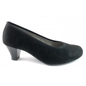 12-54220 Auckland Black Print Court Shoe