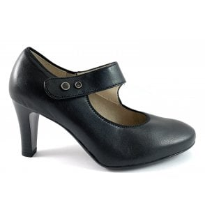 12-56019 Marseille Black Leather Court Shoe