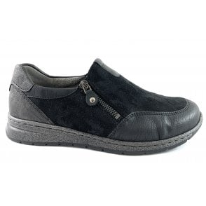 12-62442 Sapporo Black Slip On Casual Shoe