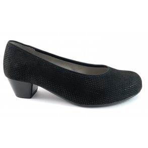 12-63619 Catania Black Print Court Shoe