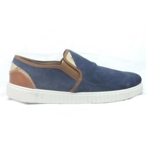 1210 Vallo Denim Blue Suede Slip-On Casual Shoe