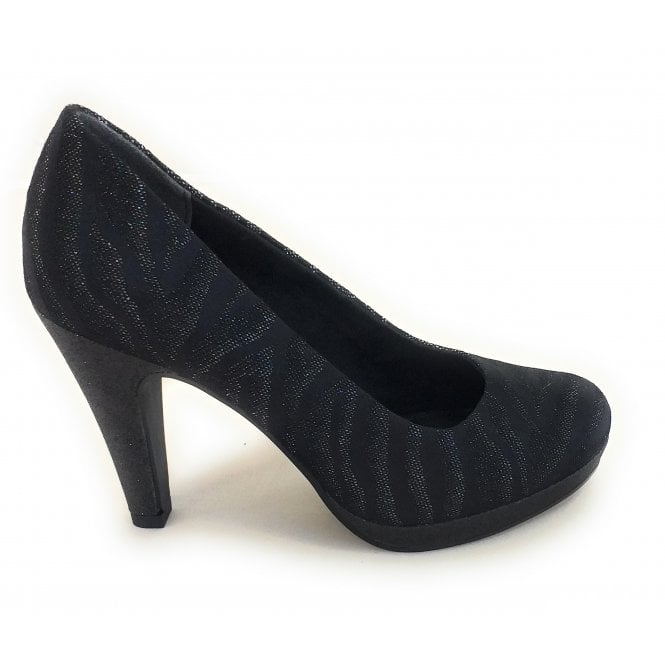 Marco Tozzi 2-22400 Black and Pewter Print Court Shoe