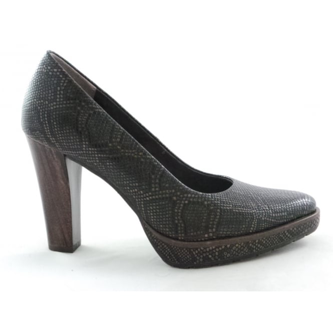 Marco Tozzi 2/22435/29 Cancan Dark Brown Reptile Print Court Shoe