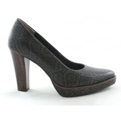2/22435/29 Cancan Dark Brown Reptile Print Court Shoe
