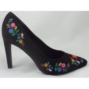 2/22455/38 Black Embroidered Court Shoe