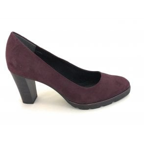 2-22456 Bordeaux Faux Suede Court Shoe