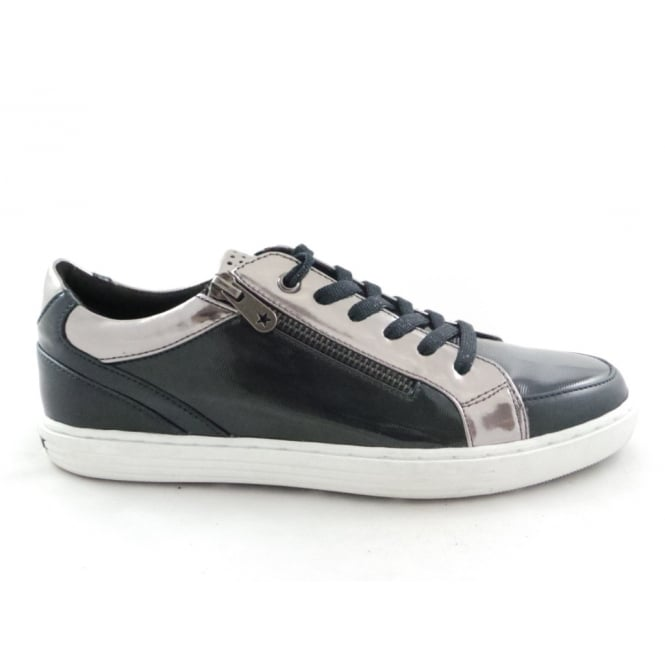 Marco Tozzi 2/23600/29 Lovati Navy and Silver Lace-Up Trainer