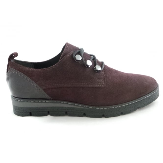 Marco Tozzi 2/23719/29 Merlot Nubuck and patent Lace-Up Casual Shoe
