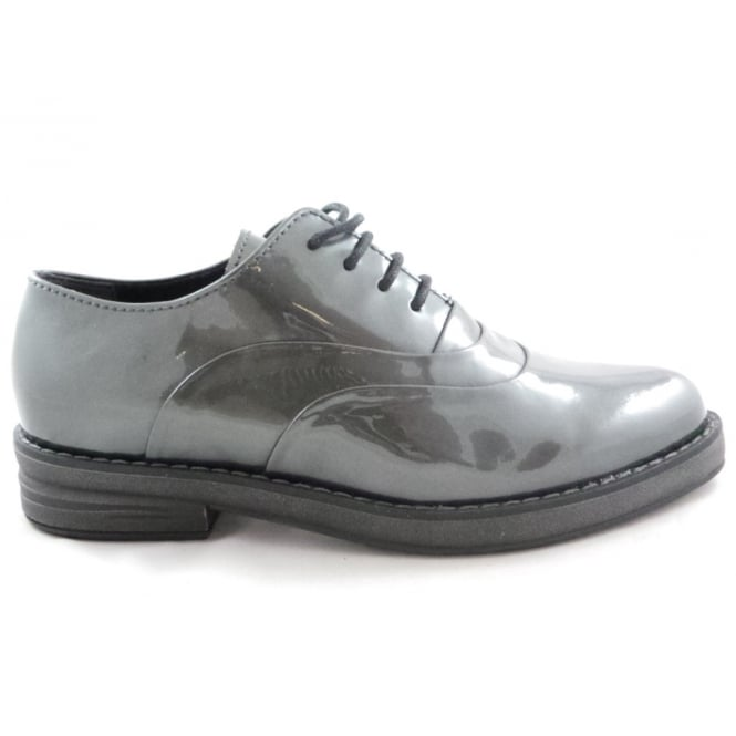 Marco Tozzi 2/23723/29 Elba Pewter Patent Lace-Up Shoe
