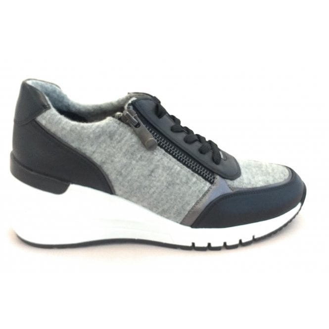 Marco Tozzi 2-23756 Magana Black and Grey Wedge Trainers