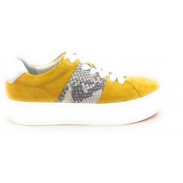 2-23767 Yellow and Reptile Print Trainers