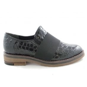 2/24708/29 Lera Black Patent Croc Print Slip-On Shoe