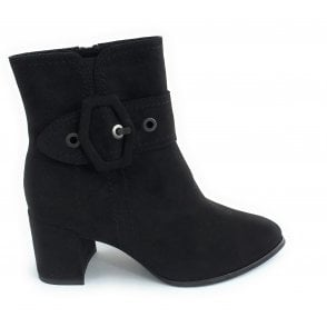 2-25008 Black Faux Suede Ankle Boot