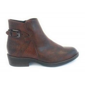 2-25025 Brown Faux Leather Ankle Boot