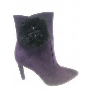 2-25025 Womens Heeled Purple Ankle Boots
