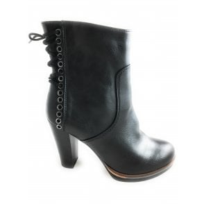 2-25047 Womens Black Heeled Ankle Boot
