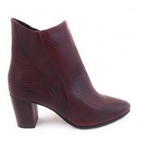 2-25061 Bordo Lizard Print Ankle Boot