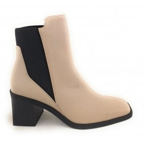 2-25080 Beige Faux Leather Heeled Boots