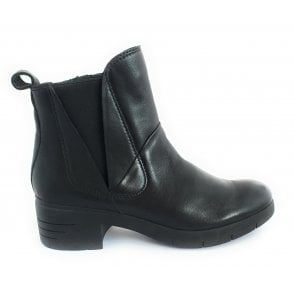 2-25089 Black Leather Ankle Boot