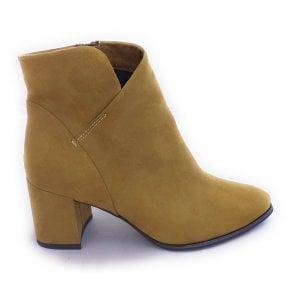 2-25095 Mustard Faux Suede Ankle Boots