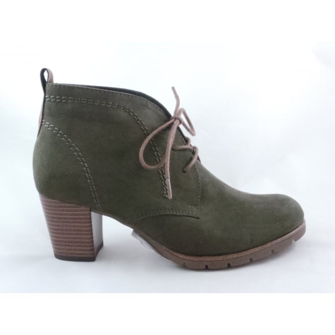 Marco Tozzi 2/25107/39 Pesa Olive Green Faux Suede Lace-Up Ankle