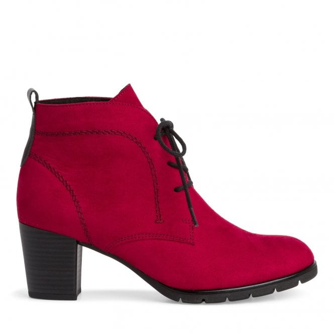 Marco Tozzi 2-25107 Pesa Red Faux Suede Heeled Ankle Boots