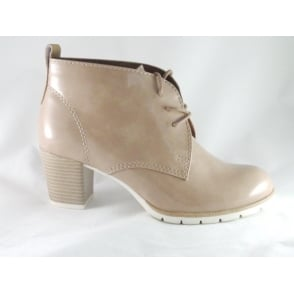 2/25109/28 Beige Patent Lace Up Ankle Boot