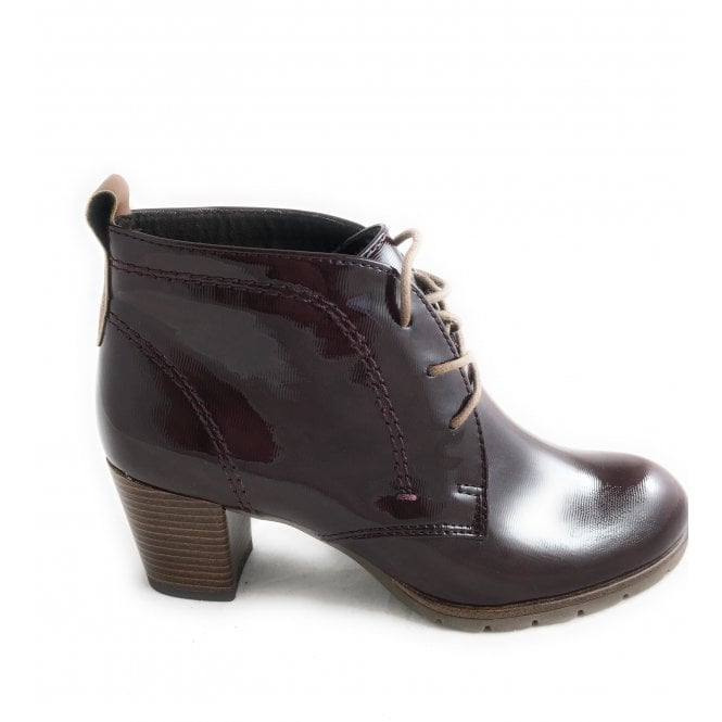 Marco Tozzi 2-25109 Burgundy Patent Lace-Up Ankle Boot