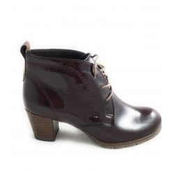 2-25109 Burgundy Patent Lace-Up Ankle Boot