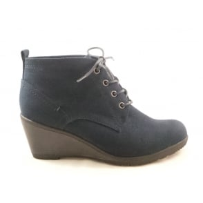 2/25111/29 Ranco Navy Blue Faux Suede Lace-Up wedge Ankle Boot