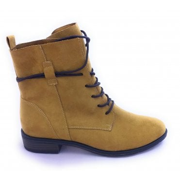 2-25112 Mustard Lace-Up Ankle Boots