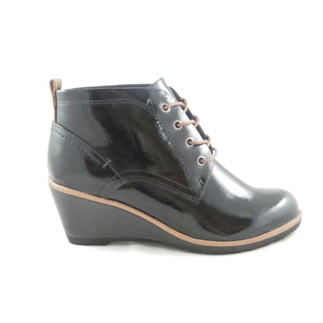 2591bb2c479a Marco Tozzi 2 25121 29 Black Patent Lace-Up Wedge Ankle Boot - Marco Tozzi  from size4footwear.com UK