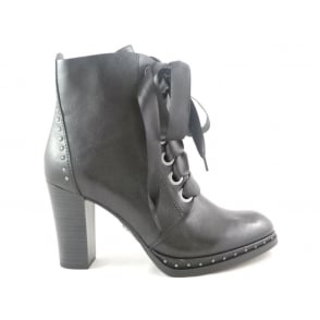 2/25130/39 Black Faux Leather Lace-Up Ankle Boot