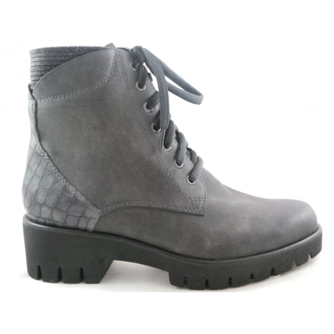 Marco Tozzi 2/25205/29 Bille Grey Faux Leather Lace-Up Chunky Ankle Boot