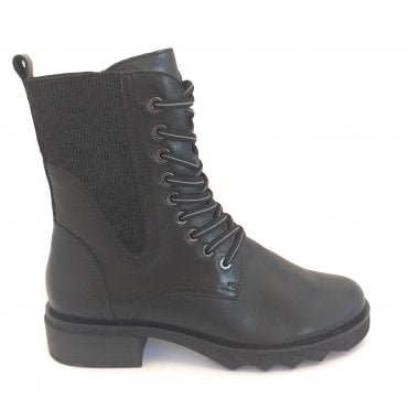 2-25205 Black Leather Lace-Up Ankle Boot