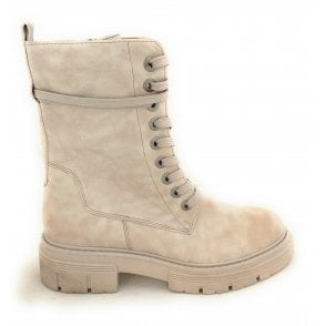 2-25207 Ivory Faux Leather Boots