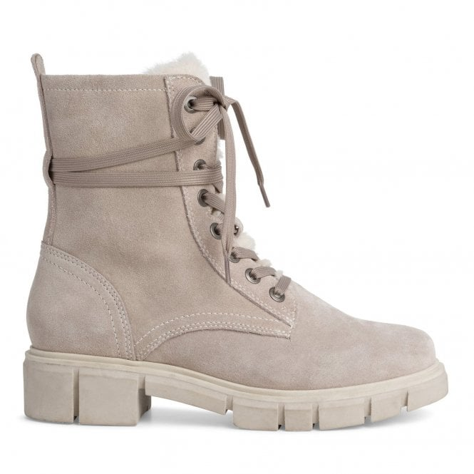 Marco Tozzi 2-25211 Beige Suede Lace-Up Boots