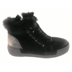 2-25237 Black Suede Wedge Ankle Boot