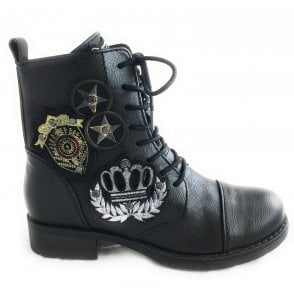 2-25245 Black Military Lace-Up Ankle Boot